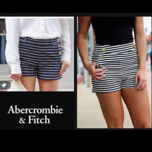 Abercrombie &Fitch High Waisted Sailor Navy Shorts